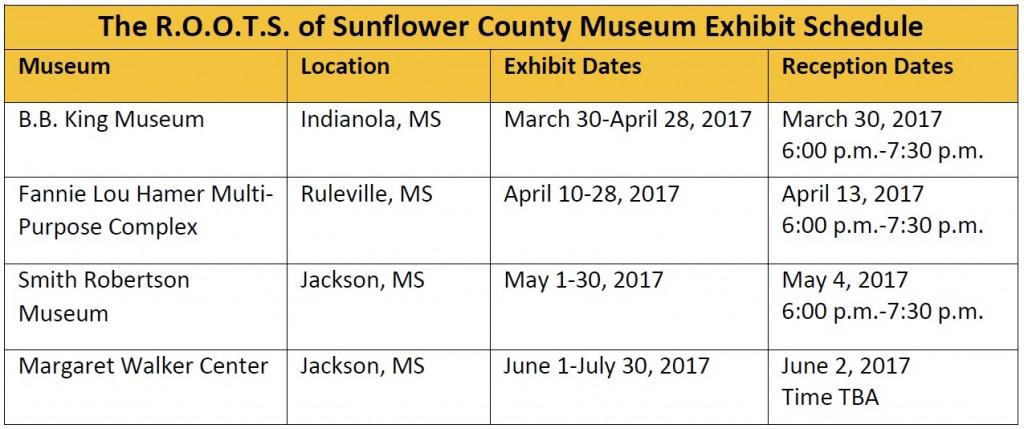 ROOTS exhibit schedule